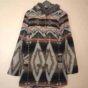 Wool jacket with fur hood